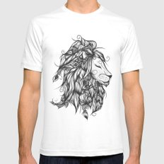 Poetic Lion B&W Mens Fitted Tee SMALL White