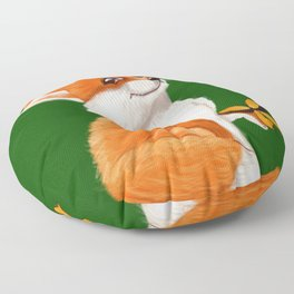 Cute fox playing with a butterfly Floor Pillow