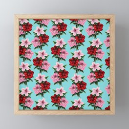 Pink Red Flowers Teal Framed Mini Art Print
