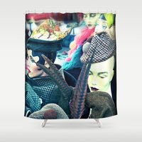 hats Shower Curtains featuring Vintage Hats by tea and tiffin