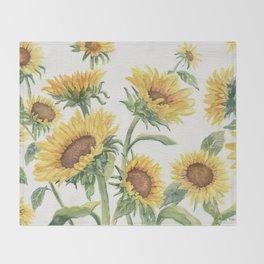 Blooming Sunflowers Throw Blanket