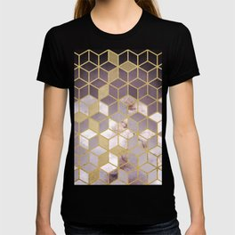 Shades Of Pink Cubes Pattern T-shirt