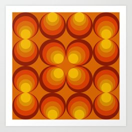 70s Circle Design - Orange Background Art Print