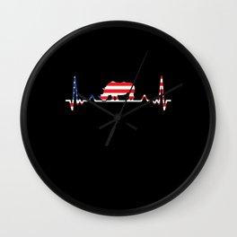 Rhino American Flag Heartbeat USA Gift Wall Clock