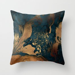 Emerald Indigo And Copper Glamour Marble Throw Pillow