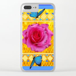 CERULEAN BLUE BUTTERFLIES SPRING PINK ROSES Clear iPhone Case