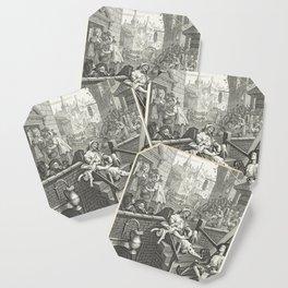 Gin Lane - William Hogarth (1697-1764) - 18th century engraving print Coaster