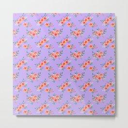 Orange lilac green watercolor hand painted peonies floral Metal Print