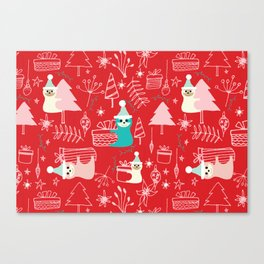 Santa Claus Cute Sloth Christmas pattern Red #christmas Canvas Print