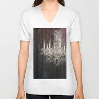 shabby chic V-neck T-shirts featuring rustic nature barn wood western country shabby chic chandelier art by chicelegantboutique