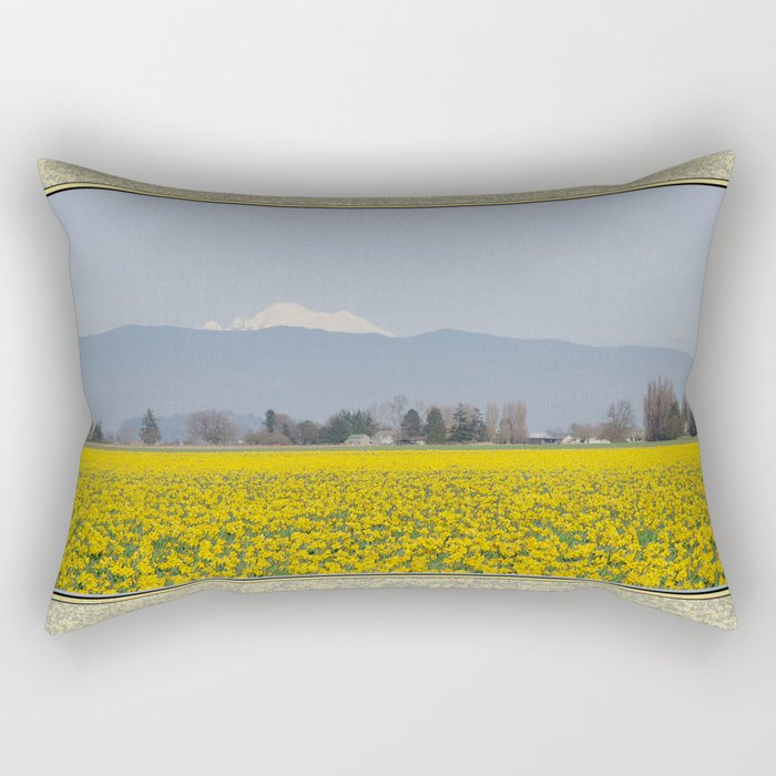 DAFFODIL FIELD AND MOUNT BAKER IN THE SKAGIT VALLEY  Rectangular Pillow
