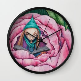 Bunny Elf reads in a peony Wall Clock