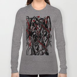 Abstract in Gray, Red, White, and Black Long Sleeve T-shirt