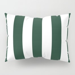 Phthalo green - solid color - white vertical lines pattern Pillow Sham