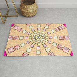 Ethnic wheel in pink Rug