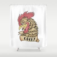 rooster Shower Curtains featuring Rooster by Kyle Griffis Illustration