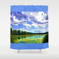 wisconsin Shower Curtains featuring Lake Wingra, Wisconsin by Ron (Rockett) Trickett