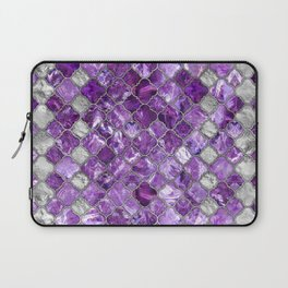 Quatrefoil Moroccan Pattern Amethyst and silver Laptop Sleeve