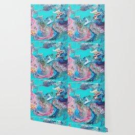 Fluid Nature - Rainbow Sea Dragon - Abstract Acrylic Pour Art Wallpaper