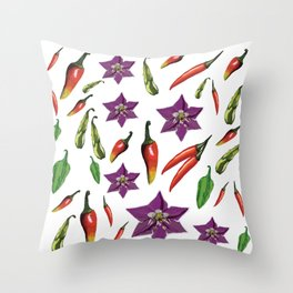 Chili Peppers Botanical Pattern Throw Pillow