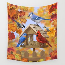 Autumn Bird Feeder Gathering Wall Tapestry