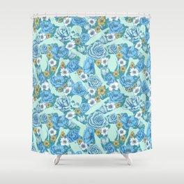 Weapon Floral-Blue Shower Curtain
