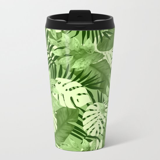 Green Tropical Leaves Pattern Metal Travel Mug