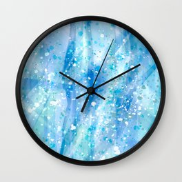 Blue Strokes, Spatter Abstract Wall Clock