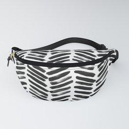 Simple black and white handrawn chevron - horizontal Fanny Pack