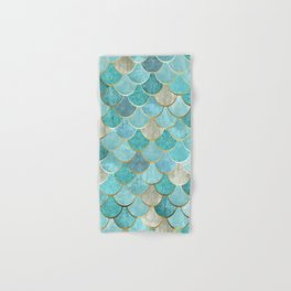 Moroccan Mermaid Fish Scale Pattern, Aqua,Teal Hand & Bath Towel