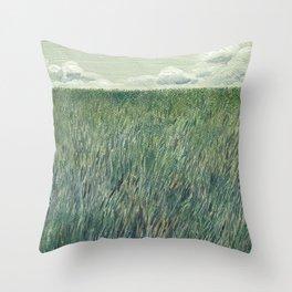 Quiet Green Field Self portrait Throw Pillow