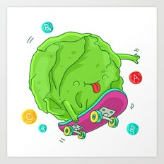 Skating Cabbage Art Print