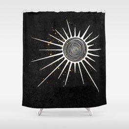 Sunrays and Swirls Inktober :: I Feel An Urgency Shower Curtain