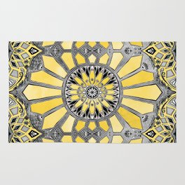 Sunny Yellow Radiant Watercolor Pattern Rug