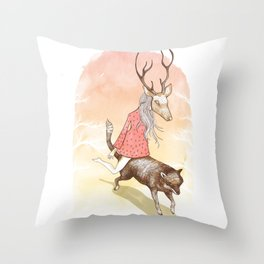 wolf and dear Throw Pillow