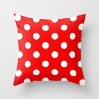 polka dots Throw Pillows featuring Polka dots  by MIKITCHU