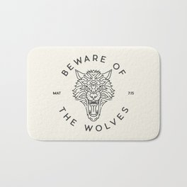 Beware of the Wolves (black) Bath Mat
