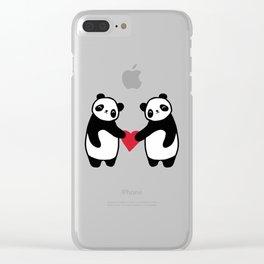 Panda Love  panda bear in love Clear iPhone Case