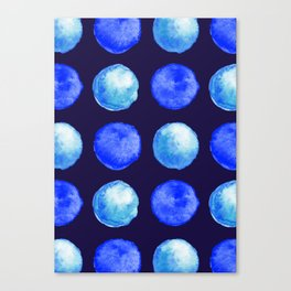 Winter Blue Watercolor Large Dots Pattern Canvas Print