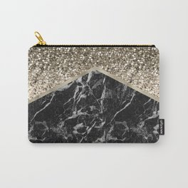 Shimmering golden chevron black marble Carry-All Pouch