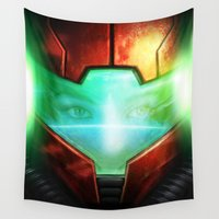 metroid Wall Tapestries featuring Metroid by Joe Roberts