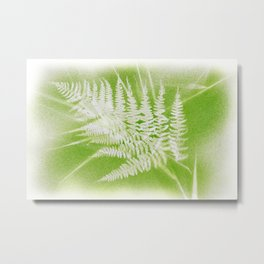 Airbrushed bracken frond and grasses Metal Print