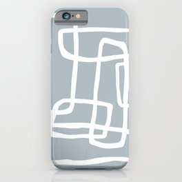 Abstract Interlocking Shapes No. 1 in Dusty Blue and White iPhone Case