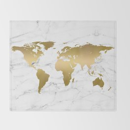 Metallic Gold World Map On Marble Throw Blanket