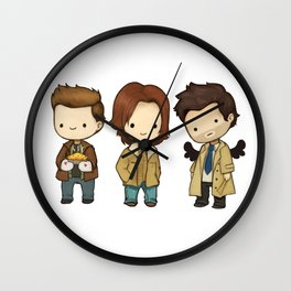 Chibi Dean Sam Castiel Supernatural Wall Clock