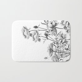 black and white peonies Bath Mat