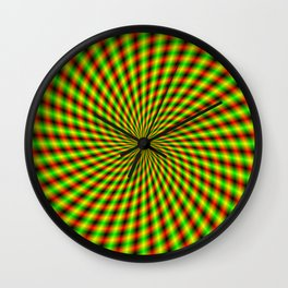 Spiral Rays in Yellow Green and Red Wall Clock