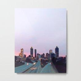 Atlanta Downtown Skyline in Pink and Purple Sunset Metal Print