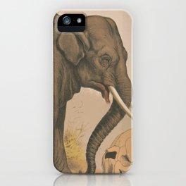 Vintage Elephant Illustration (1874) iPhone Case
