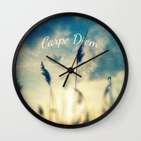 carpe diem Wall Clocks featuring Carpe Diem by Sandra Arduini